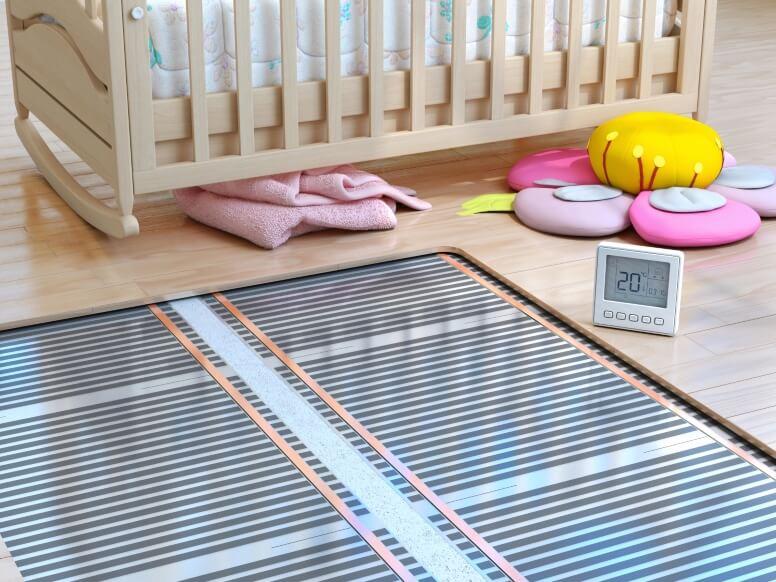 Vloerverwarming in babykamer